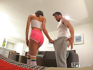Slender ebony stepsister Alexis Tae is fucked and creampied on a hidden camera