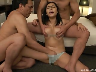 Petite Asian with big tits, first threesome in hardcore