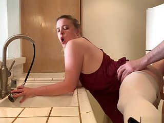 Stepmom stuck close by the sink gets stepson's dick close by will not hear of