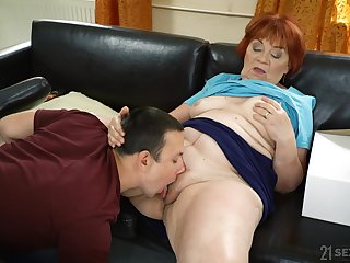 Granny loads her fat pussy with the nephew's energized dick