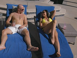 Hot blooded babe Aidra Fox is decorative crazy sex fun with bald headed dude
