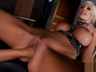 smoking hot popsy in thigh high boots and gloves lezdom