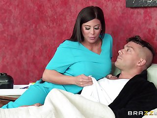 Nurse Alexa Pierce in blue unvarying sucks a dick and rides him hard