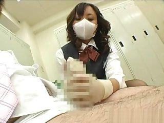 japanese post lady gloved handjob