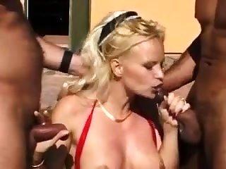 Interracial hot threesome outdoor