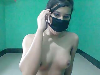 Masked cutie works overhead webcam with the addition of exposes the brush amateur Indian bosom