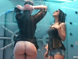 Two sluts decide to get wet and play with their aphoristic boobs