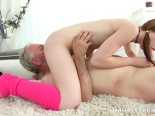 Lusty pigtailed latitudinarian with small tits sucks older man's cock hither 69 simulation