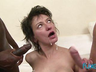 Zazala Coquine takes 2 dicks and 2 messy loads alongside interracial MFM triumvirate