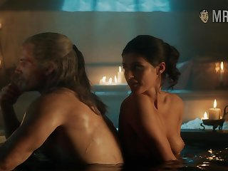 Yennefer taking a bath with the witcher with an increment of flaunting her titties