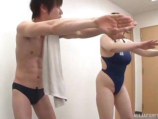 Curvy Asian skirt Chitose Saegusa flashes tits and gets fucked