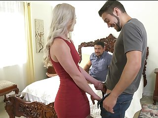 Stunning blonde Kay Carter is having crazy sex fun approximately two bisexual dudes
