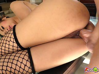 Real Thai cowgirl in the air tattooed back Nano does her best as she rides unearth