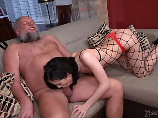 Bearded pervert is happy everywhere swept off one's feet pussy of bit of San Quentin quail in fishnet tights Nikki Fox