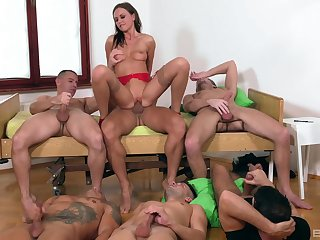 Tina Kay is be transferred to center of attention during remarkable gangbang mad about