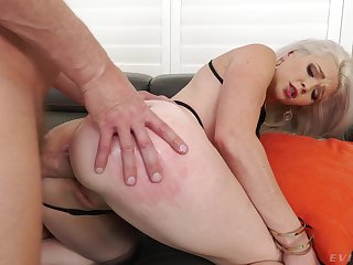 Hot blonde bends for hammer away man's energized dick