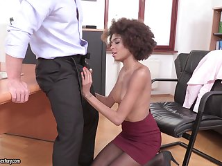 Ebony darling Luna Corazon teases in stockings and enjoys having making love