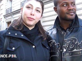 La France A Poil - Sleezy French Brunette Sucks Black A