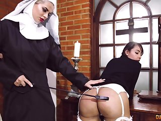 Passionate lesbian sex between two kinky pornstars dressed as A nuns