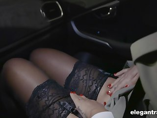Hot Russian mollycoddle Anna Polina shows stockings upskirt to french constable