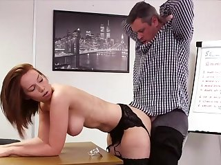 Elegant redhead suits her boss all round mesmerizing copulation