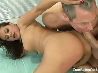 Flimsy brunette connected with cuckold trine action