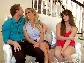 Naughty platinum-blonde mature more blue eyes is oft-times wearing softcore underwear and cuckold on her hubby