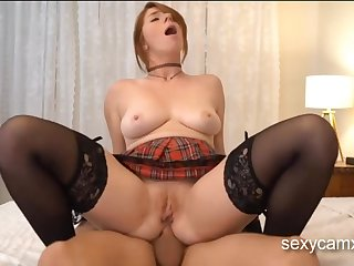 Changeless assfuck nailing and facial for exciting redhead schoolgirl