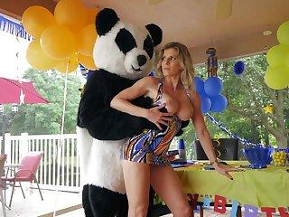 Panda bear fucks horny mature ahead of a overindulge corps