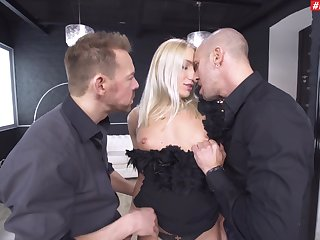 Astonishing pornstar Angelica Grey gets fucked in both holes wits 2 guys