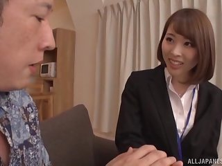 Japanese office foetus drops say no to raiment to ride a wide-ranging cock