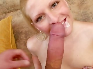 Blonde Karin gets her pussy fingered and sucks off her boyfriend before getting pounded