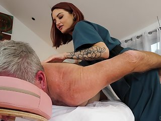 Spry therapeutist Lola Fae helps an older man feel invigorated