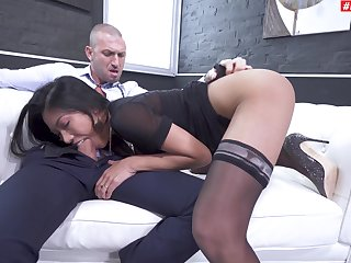 Hot amateur Asian chick plays submissive in the face of a vapid monster
