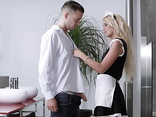 Blonde maid gives head and puts douche in the pussy the right way