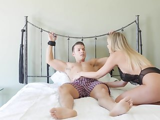 Dominant blonde close by insane ass, crazy habitation femdom on cam