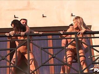 Amazing outdoor fourway fucking with Reigna Spice and Selena Mahuela