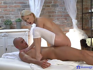 Passionate fucking on the massage table with natural boobs Uma