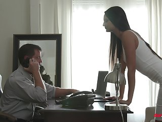 Skinny woman drives her man crazy with perfect cuckold