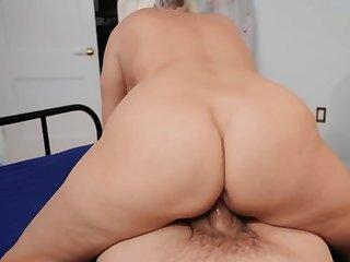 Boy fucks shaved pussy of big-tittied stepmom erection her happy
