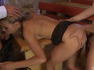 Intriguing anal DP for a thin babe with a great ass